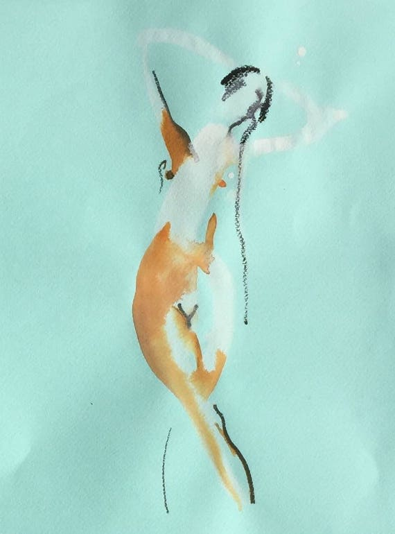 Nude painting of One minute pose 109.2 Original painting by Gretchen Kelly