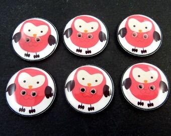 "Owl Buttons. Handmade Buttons. 3/4"" or 20 mm Round Pink Owls.  Set of 6 sewing buttons.  Handmade Supplies."