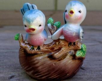 Vintage Norcrest Lefton Blue Birds On Nest Planter Figurine