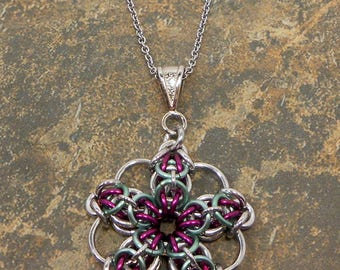 Celtic Spikes Chainmaille Pendant, Maille, Chain, Gift for Her, Wife Gift Idea Christmas, Statement, Handmade Jewelry, Unique Gift