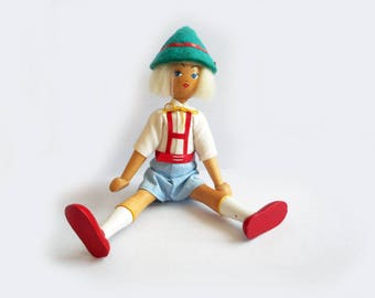 "Vintage Wooden Boy Doll Poland Souvenir 8"" High Felt Hat Lederhosen Jointed Poseable Miniature Doll Dollhouse Vintage World Costume"
