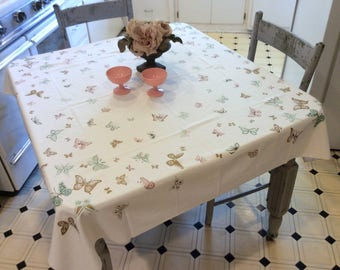 Vintage Tablecloth Pretty Pastel Butterflies w Gold Signed