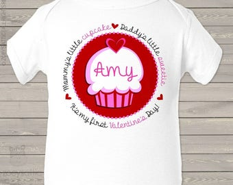 First Valentine Day mommy's little cupcake daddy's little sweetie red hearts bodysuit or t-shirt   snlv-041