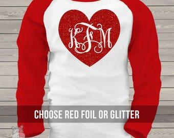 GIRLS Valentine glitter heart monogram raglan shirt -  sparkly monogrammed KIDS raglan shirt  snlv-r-010-kid