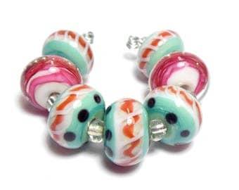 Quinlan Glass Strawberry Jasmine Handmade Lampwork Glass Beads