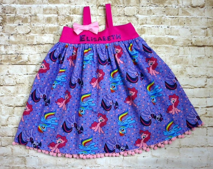 My Little Pony Dress - My Little Pony Party - MLP Birthday Party - MLP Baby Dress - Personalized Dress - Sizes 6 months to 8 years