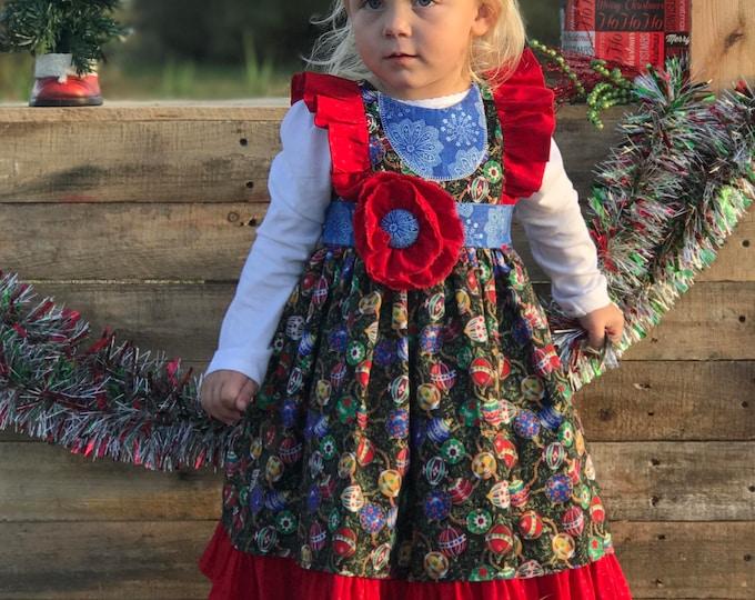 Toddler Dress - Christmas Dress - 1st Christmas - Ruffle Dress - Toddler Christmas - Baby Christmas - Handmade Christmas -6 mo to 8 yrs