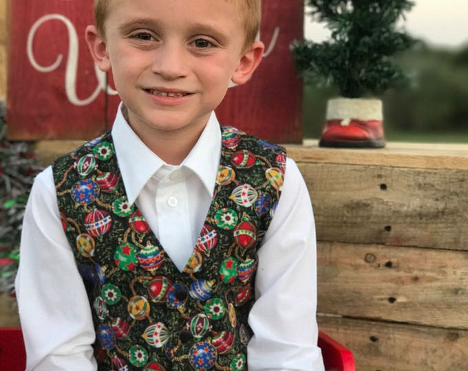 Christmas Vest - Toddler Christmas - Little Boy Vest - Little Boy Holiday - Christmas Clothes - Holiday Photo Prop - Handmade - 12 mo - 8 yr