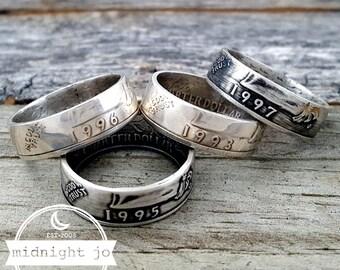 1992-1998 Silver Coin Ring Washington Quarter Double Sided Coin Ring Silver Quarter Coin Ring