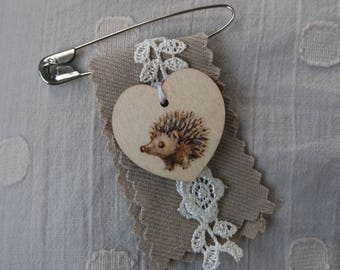 Hedgehog Brooch - Pyrography and textile pin, medal or badge - Wooden heart Fifth Wedding Anniversary gift - Woodburning jewelry - Mori kei