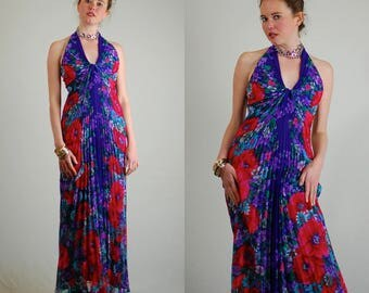 William Travilla Gown Vintage ICONIC Violet Crystal Pleated Poppy Floral Draped TRAVILLA Halter Maxi Dress (xs s)