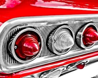Chevrolet Impala Tail Lights Car Photography, Automotive, Auto Dealer, Muscle, Sports Car, Mechanic, Boys Room, Garage, Dealership Art