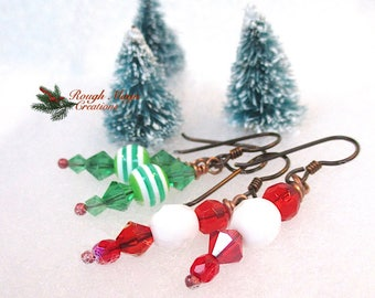 2 Pairs Christmas Earrings, Red Green White Mix or Match Dangles, Stocking Stuffer, Gift for Women, for Girls, Colorful Holiday Jewelry E234