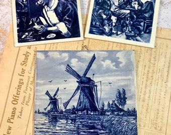 Vintage DELFT PORCELAIN TILES- Blue & White Tile- Made in Holland- Hand Painted Windmill- O15