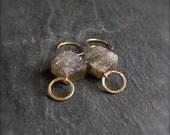 Grey Druzy Earrings - Smokey Grey Brown, Drusy Quartz, Goldfill Dangle Earrings, Stone Diamond, Boho Chic, Bohemian Jewellery