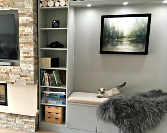 Scandi-Style Decorative Logs Whitewashed for interior display - fill a fireplace - log stack - white - Scandinavian