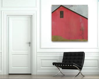 Ready to Hang Red Barn Landscape Canvas Print, Color options Pink,Green, Blue, Country Barn,Rustic Country Cottage Decor, Farm, Multi Colors