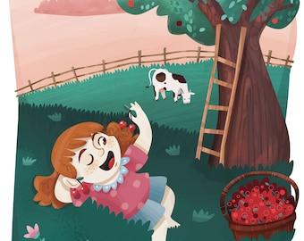 Poster: girl and the cherries, children illustration poster, kidsroom print, nursery illustration