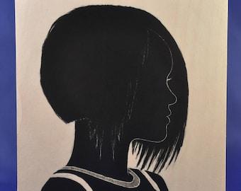 Hand painted / NASTY WOMEN SERIES / Rihana / Silhouette Portrait / Custom Silhouette Painting / Adult Portraits
