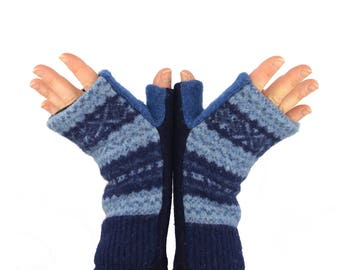 Fingerless Mitts in Nordic Blue Snowflakes - Recycled Wool - Fleece Lined