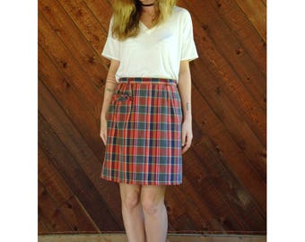 Checkered Plaid h/w Mini Pencil Skirt - Vintage 70s - M/L