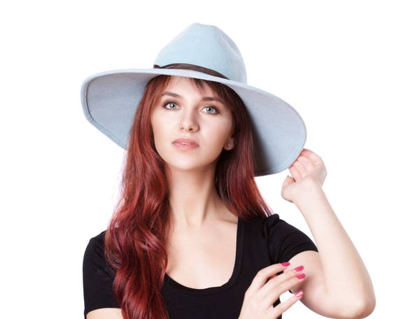 Wide Brimmed Fedora Hat Women's Hat Spring Fashion Spring Accessories Sky Blue Hat Western Style Spring Hat Serenity Blue Pastel Easter Hat