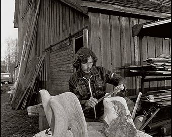 JOHN SIMON, Skagit Valley Wood Carver, Clyde Keller photo, 1980