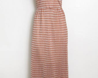 Vintage Maxi Dress / Sleeveless Metallic Thread Houndstooth Print / Vintage 60s - 70s Junior Touch Hostess Dress