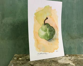 pear / original watercolor / one of a kind painting
