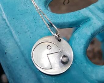 I Love Ghost Pendant,  pac man inspired pendant,  Retro pendant, gamer pendant, video gamer pendant, geeky, gamer gift