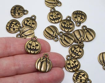 Jack O Lantern Charms, 2+ Brass Oxide Plated, TierraCast Lead Free Pumpkin Charms, Halloween Fall Festival Charms