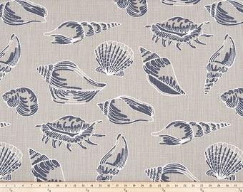 Shells Curtains, Pair of Rod Pocket Panels,  Premier Prints Beach Treasure Slub Canvas Cello Blue - Seaside Ocean Sea, Grey Blue