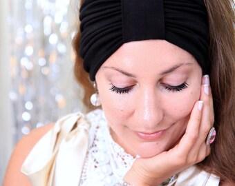 Black Turban Headband - Women's Hair Band Turbans - Boho Style Wide Headbands - 40 Colors