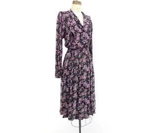 70s Floral Dress Boho Floral Dress Floral Midi Dress Pink Floral Dress 70s Does 40s Dress Pink Purple Floral 70s Fashion m Medium