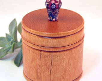 Elegant Little Wood Box with Ruby Lampwork Glass Knob/Finial