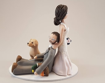 Bride Dragging Hunter Custom Made Wedding Cake Topper