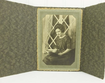 Young Lady Reading Book Antique Photograph, 1900s Woman in Ruffled Dress Instant Ancestors