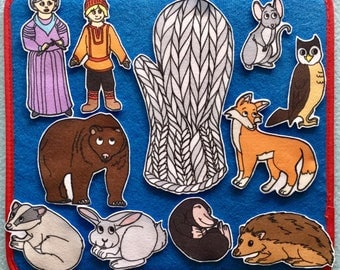 The Mitten Felt Board Story w animals. Popular Children's Folktale. Teachers. Story time.