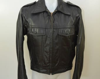 Vintage LEATHER MOTORCYCLE JACKET size 42 Golden Threads Brill Bros 1970's