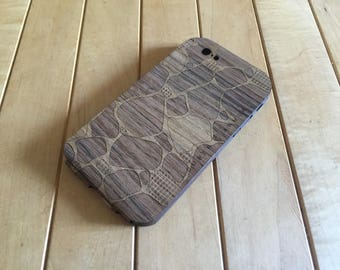 Teak iPhone Case with Laser-Etched Rock Design - Removable Phone Case for iPhone 7, iPhone 6S & iPhone 6 - Flapjack Style - Brand New!!