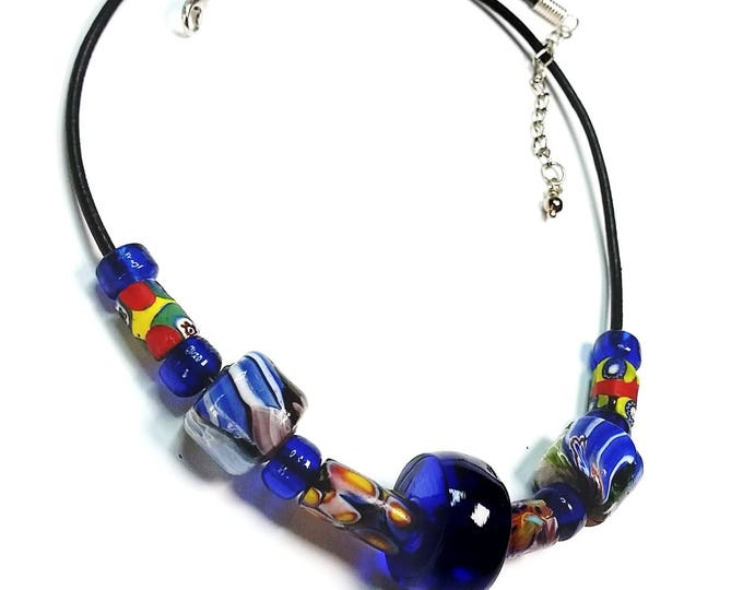 Trade Beads on Leather Necklace # 1