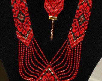 Ukrainian Gerdan and bracelet set, traditional Ukraine necklace, Beaded Necklace, Ukrainian Jewelry, long necklace Folk Ukrainian gerdan