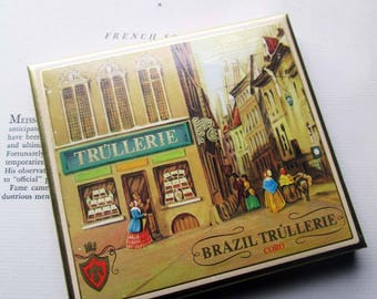 "Vintage Cigarillos Box ~ Made in W. Germany ~ Trullerie Brazil Blunt Sized ~ Pretty Gift Box ~ Streetscene Art Box ~4 1/2"" x 4"" x  1/2""  VTG"