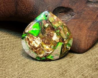 15% off sale Irish Lion ~ Mesmerizing Bornite and Green Sea Sediment Jasper Squat Teardrop Waterdrop