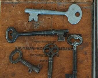 5 Vintage old gothic metal skeleton keys