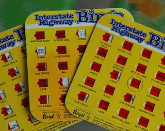 Set of 3 Vintage interstate highway bingo playing cards regal games old school graphics ephemera car collectable board game road trip USA