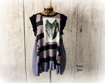 Wolf Clothing Purple Sweater Artsy Art Top Upcycled Tunic Woodland Mori Girl Ruffle Cap Sleeves Boho Chic Clothes Unusual Top XL 'LINDSAY'