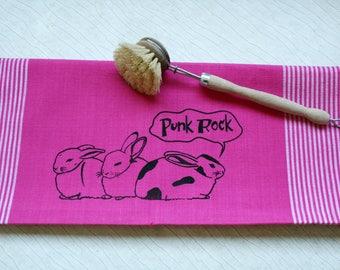 "Fair trade tea towel ""Punk Rock"" pink"