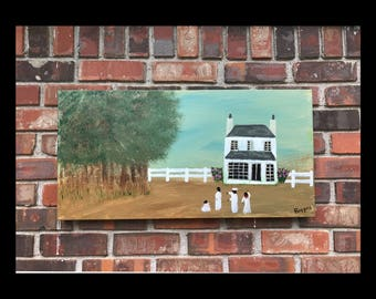 """Black Americana Southern Folk Art - Original Painting """"The Old Country Home"""""""