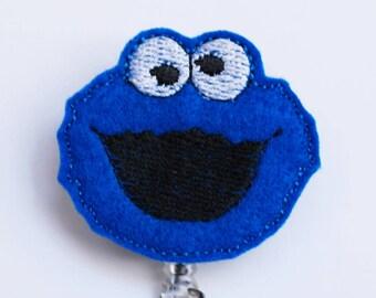 Sesame Street's Cookie Monster Feltie ID Badge Reel - Retractable ID Badge Holder - Zipperedheart